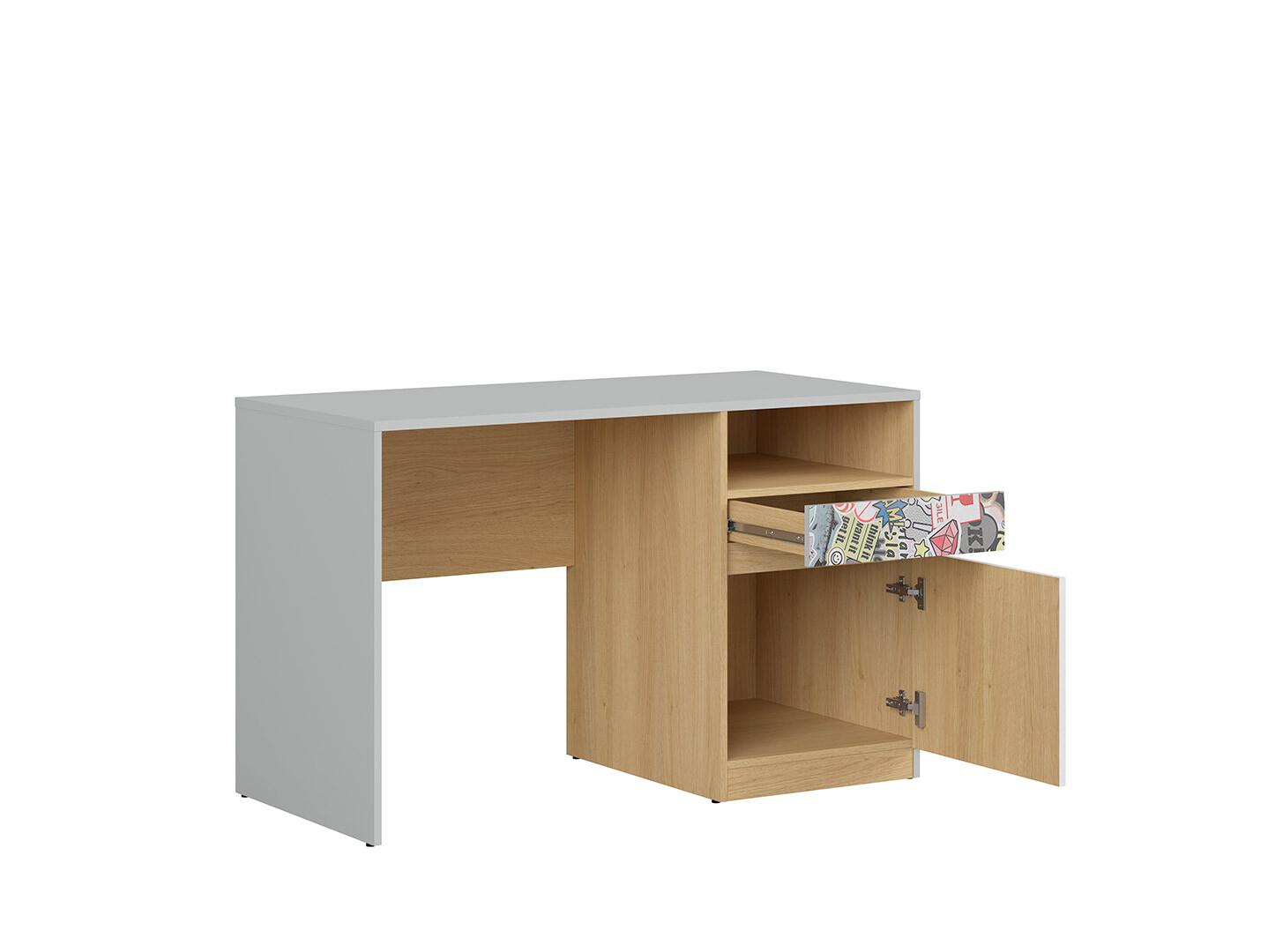 Písací stôl NANDU BIU1D1S svetlosivá/ dub poľský/ biely lesk/ sticker