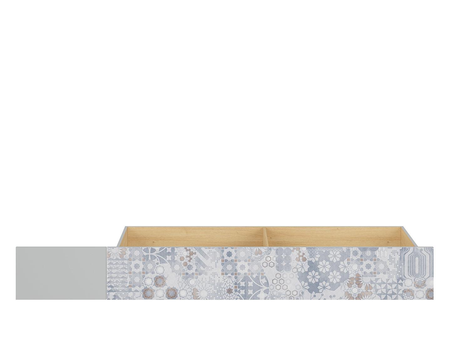 Zásuvka pod posteľ NANDU SZU svetlosivá/ dub poľský/ arabesk