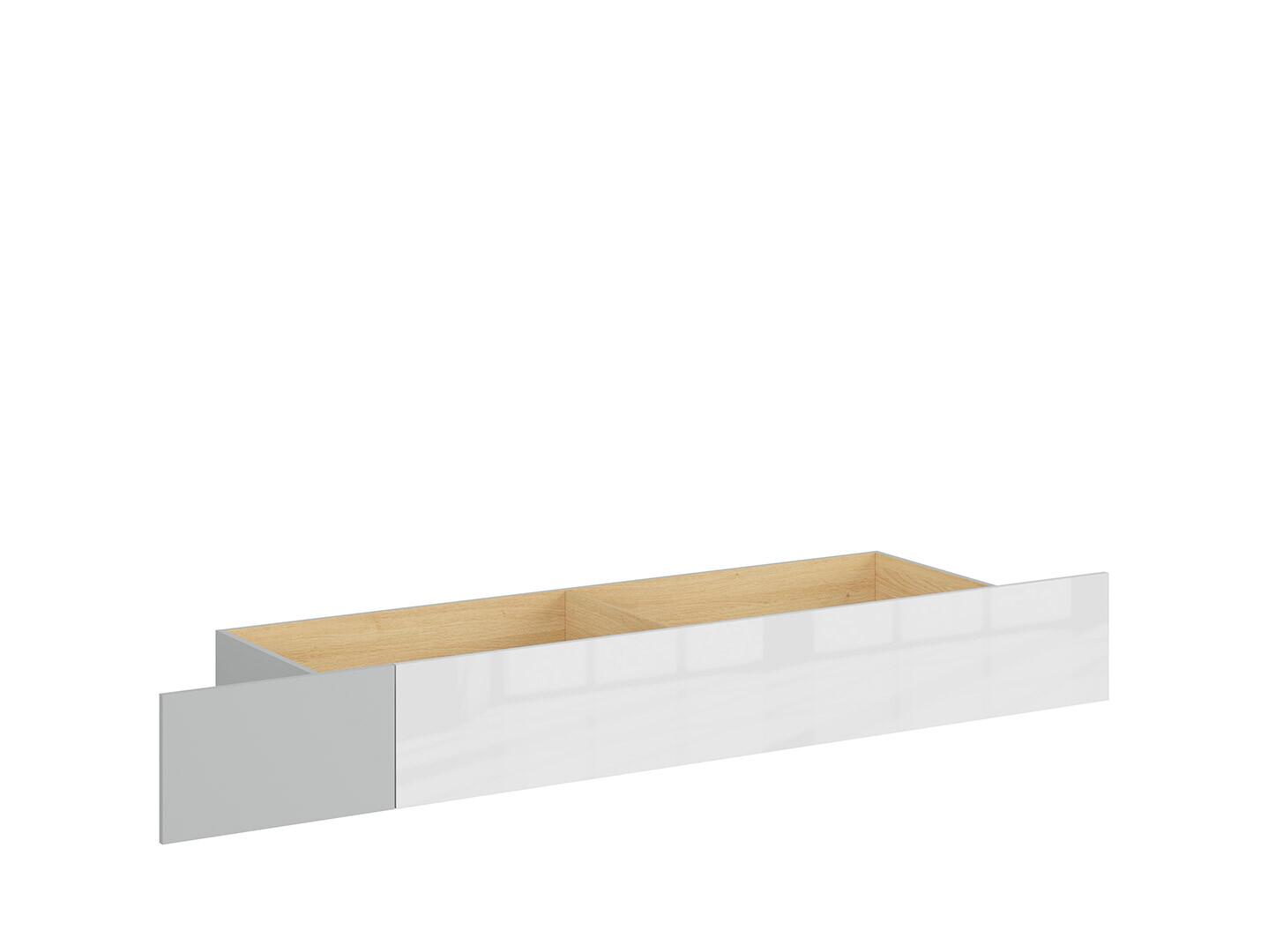 Zásuvka pod posteľ NANDU SZU svetlosivá/ dub poľský/ biely lesk