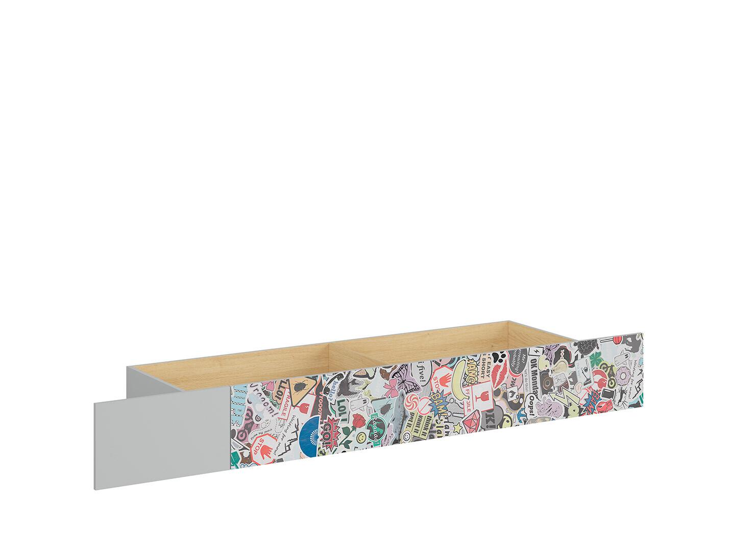 Zásuvka pod posteľ NANDU SZU svetlosivá/ dub poľský/ sticker