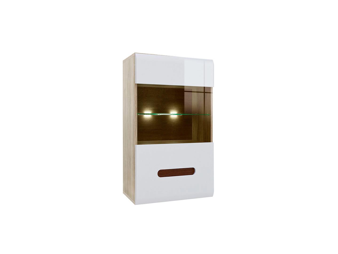 Závesná vitrína AZTECA TRIO SFW1W/10/6 dub San Remo/biely lesk