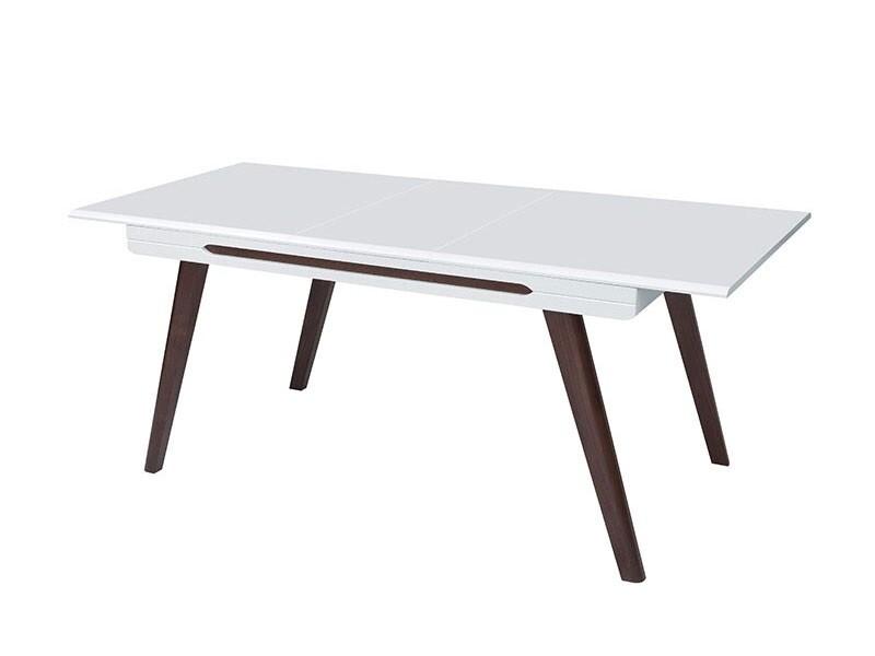 Jedálenský stôl AZTECA TRIO STO/185 bieły lesk/dub wenge hnedý